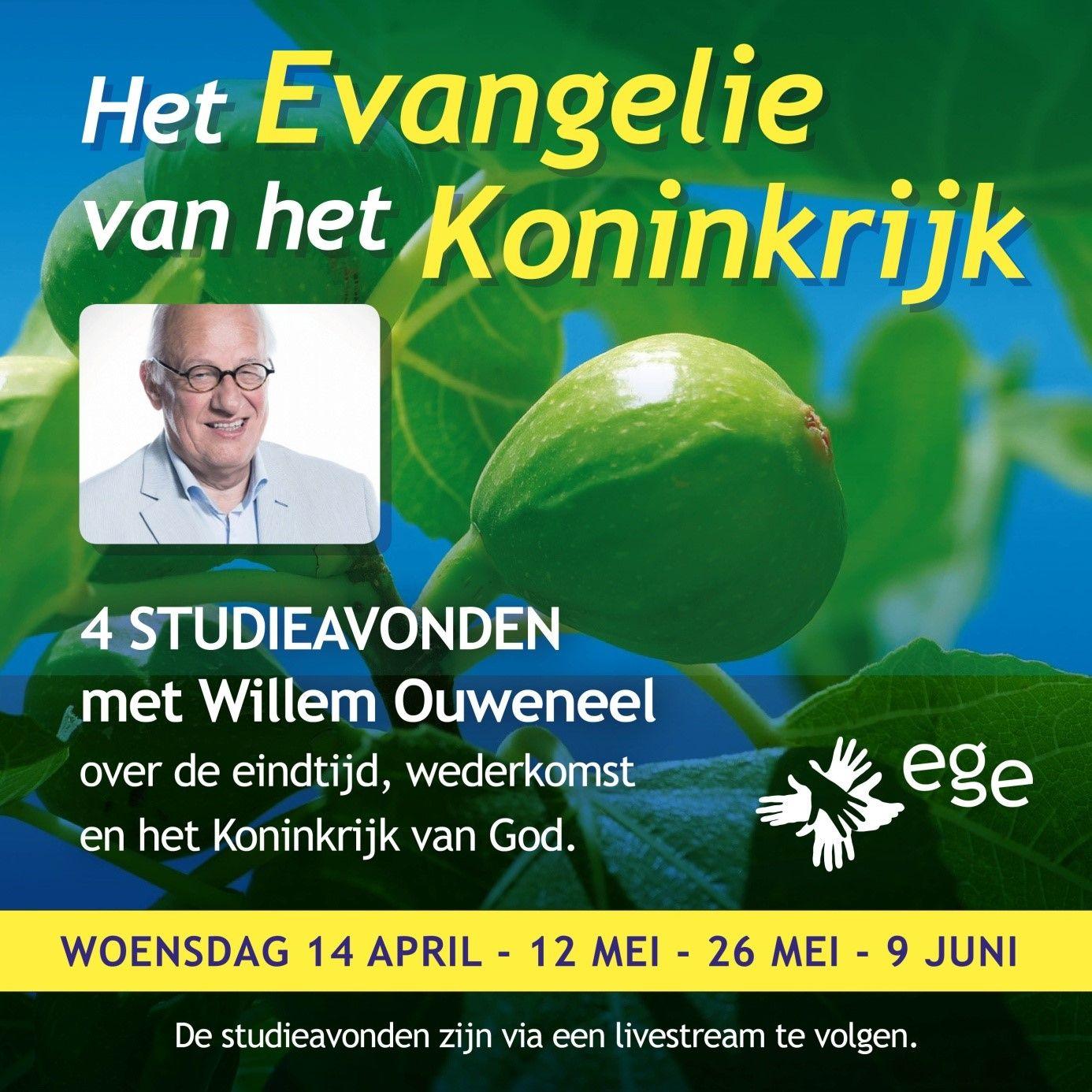 Woensdag 14 april om 19:45 1e studieavond met Willem Ouweneel