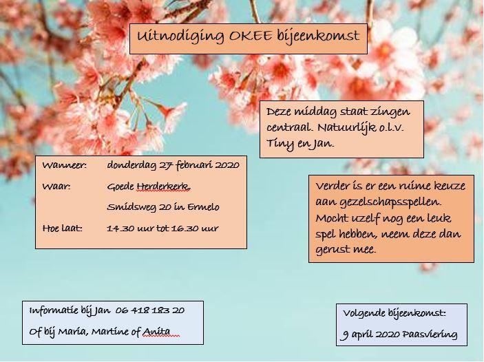 Bijeenkomst OKEE 27 februari